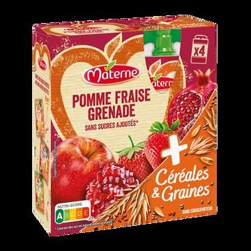 Materne Materne Ssa Pomme Fraise Grenade Céréales & Graines, 4x90g