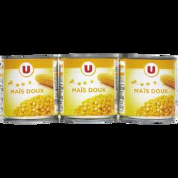 Maïs doux en grains U, 3 boîtes de 1/4 soit 420g