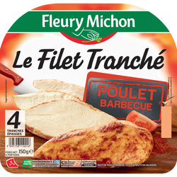Filet tranché de poulet barbecue FLEURY MICHON 4 tranches 150g