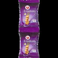 Croûtons ronds frits pour soupe saveur ail U, 2 paquets de 90g, 180g