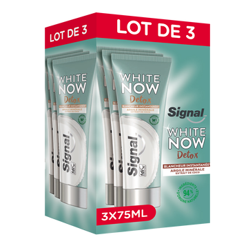 Signal Dentifrice Signal White Now Blancheur Argile/coco 3x75ml