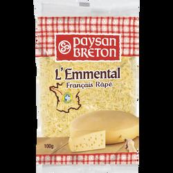 Emmental râpé lait pasteurisé PAYSAN BRETON, 28% de MG, 100g