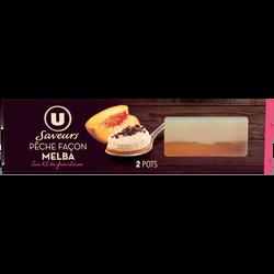 Dessert pâtissier pêche jaune, crème fouettée vanillée et framboise USAVEURS, 2x90g