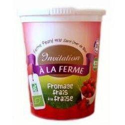 Fromage frais fermier aux Fraises, Local INVITATION A LA FERME PEARD, BIO, pot, 500g,
