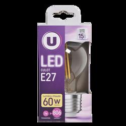 Led U, ronde, 60w, e27, transparent, lumière chaude