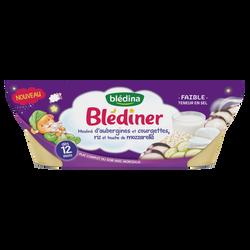 Mouliné aubergine,courgette et riz BLEDINA, 12 mois, 2x200g