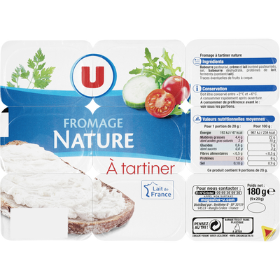 Fromage à tartiner nature  U, 21,5% de MG, 9x20g