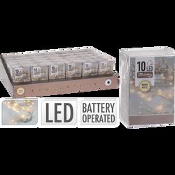 Guirlande 10 led blanc chaud intérieur-partie lumineuse 1 mètre-led3mm-fil conducteur 30cm-distance entre led 10cm-fonctionne avec 2piles AA non incluses