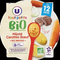 Assiette mijoté de carottes et boeuf Tout Petits Bio U, dès 12 mois, 230g