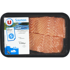 Pavé de saumon, Salmo salar, U, avec peau, 2 pieces, barquette 280g