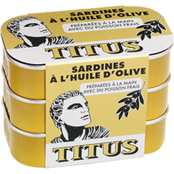 Sardine à l'huile d'olive TITUS, 3 boîtes de 125g