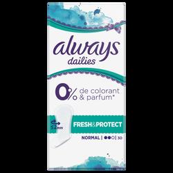 Serviettes normal fresh&protect 0% colorant&parfum ALWAYS, x30