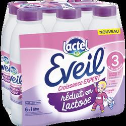 Lait de croissance réduit en lactose EVEIL, 6x1 litre