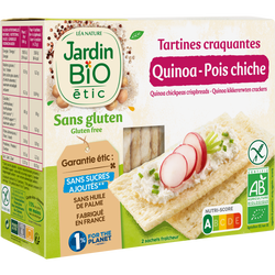 Tartines craquantes quinoa pois chiche sans gluten JARDIN BIO, 2 sachets fraîcheur soit 150g