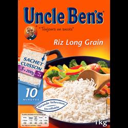 Riz long grain cuisson rapide 10 minutes UNCLE BEN'S, 5x200g