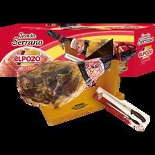 Coffret jambon Serrano os & patte avec support, couteau et aiguisoir ELPOZO, 6,5kg