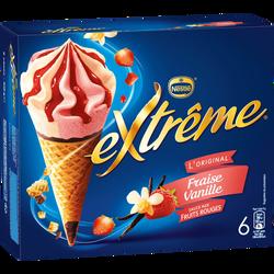 Cônes glacés fraise vanille EXTRÊME, x6 soit 426g