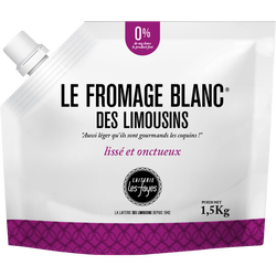Fromage blanc LAITERIE LES FAYES, 0%mg, poche 1,5kg