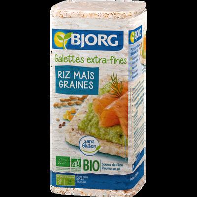 Galettes de riz complet et de mais, aux graines de lin et tournesol, BJORG, 130g