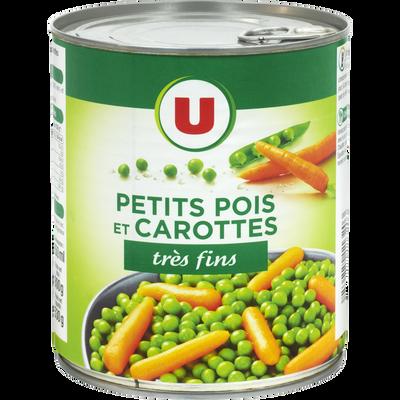 Petits pois très fins et carottes à l'étuvée U, boîte 4/4, 530g