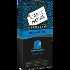 Espresso décaféiné CARTE NOIRE, 10 capsules, 53g