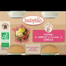Pot pomme abricot céréale BABYBIO, dès 4 mois, 2x130g