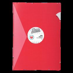 Grand cahier piqure U, petits carreaux, 21x29,7cm, 96 pages, rouge