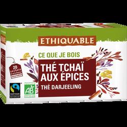 Thé Tchai aux épices d'Inde Bio ETHIQUABLE, 20 sachets de 36g