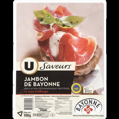 Jambon de Bayonne 12 mois U SAVEURS, 4 grandes tranches de 100G