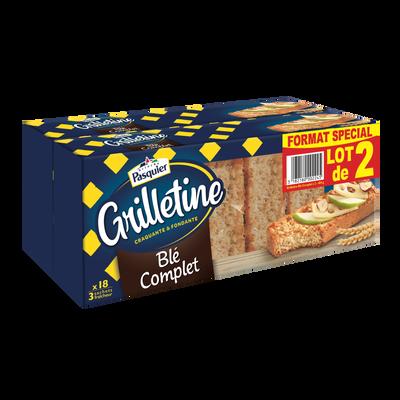 Grillettines au blé complet PASQUIER, 2 paquets de 242g