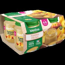 Pots 100% fruits pomme et pêche BLEDINA, dès 4 à 6 mois, 4x130g