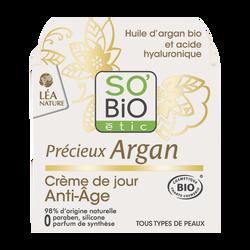Crème visage anti-âge jour précieux argan bio SO'BIO, pot de 50ml