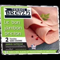 Le bon jambon vpf breton cuit supérieur découenné dégraissé TERRES DEBREIZH 2 tranches 80g