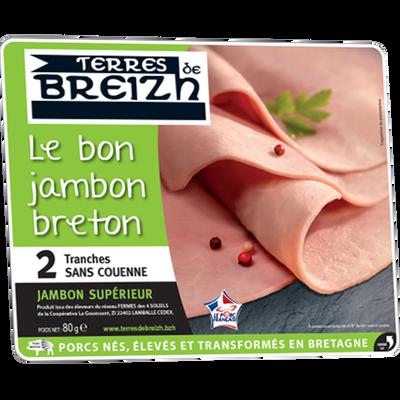 Jambon cuit supérieur TERRE BREIZH, 2 tranches soit 80g