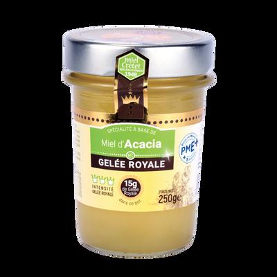 Miel d'acacia et gelée royale MIEL CRETET, pot de 250g