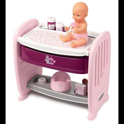 CO DODO BABY NURSE SMOBY AVEC POUPON FONCTION PIPI-PRODUIT 2 EN 1 LITTRANSFORMABLE EN TABLE A LANGER-CODODO ADAPTABLE AULIT DE L'ENFANT 3 POSITIONS 28/33/38CM-8 ACCESSOIRES INCLUS