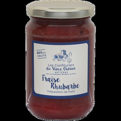Confiture fraise rhubarbe LES CONFITURIERS, pot de 350g