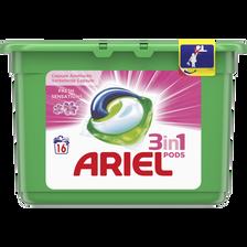 Lessive liquide fresh pink pods ARIEL, 16 doses soit 432g