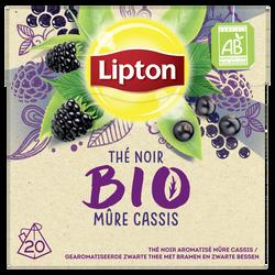 Thé noir aromatisé mûre cassis LIPTON bio, x20, 28g