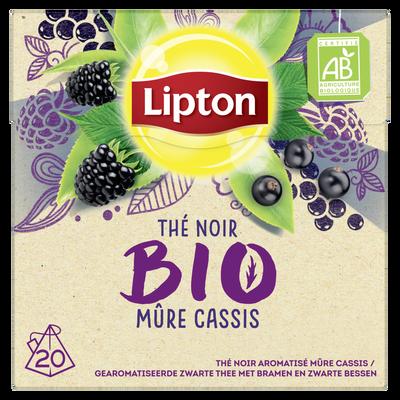 Thé noir aromatisé mûre cassis LIPTON bio, sachet de 28g x20