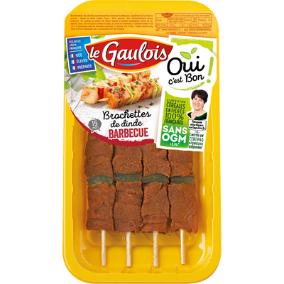 Brochettes dinde barbecue, LE GAULOIS, France, 4 pièces, barquette 380g