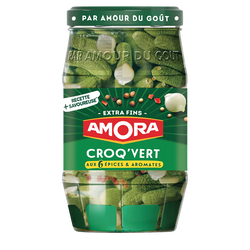 Cornichons extra-fins Croq'Vert AMORA, bocal de 370g