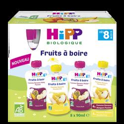 Gourde fruits à boire 2 variétés dès 8 mois bio HIPP, 8x90ml