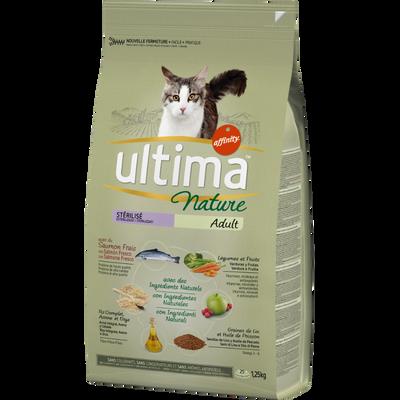 Croquettes pour chats stérilisés au saumon ULTIMA NATURE, sac de 1,25kg