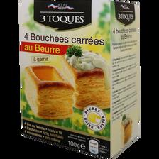 Bouchées carrées au beurre LES 3 TOQUES, 4 étuis, 100g