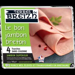 Le bon jambon vpf breton cuit supérieur dégraissé découenné TERRES DEBREIZH 4 tranches soit 160g