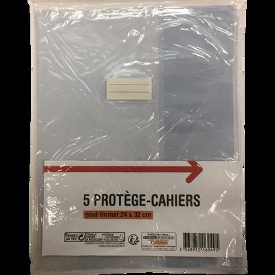 Protège cahier, 24x32 cm, transparent, pack de 5