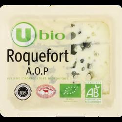 Roquefort AOP lait cru biologique U BIO, 32% de MG, tranche 100g