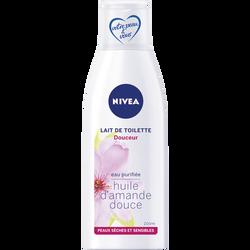 Lait démaquillant douceur pour peaux sensibles NIVEA, flacon de 200ml