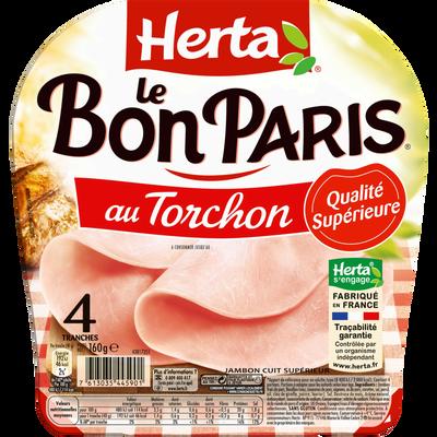 Jambon Le bon Paris torchon HERTA, 4 tranches soit 160g